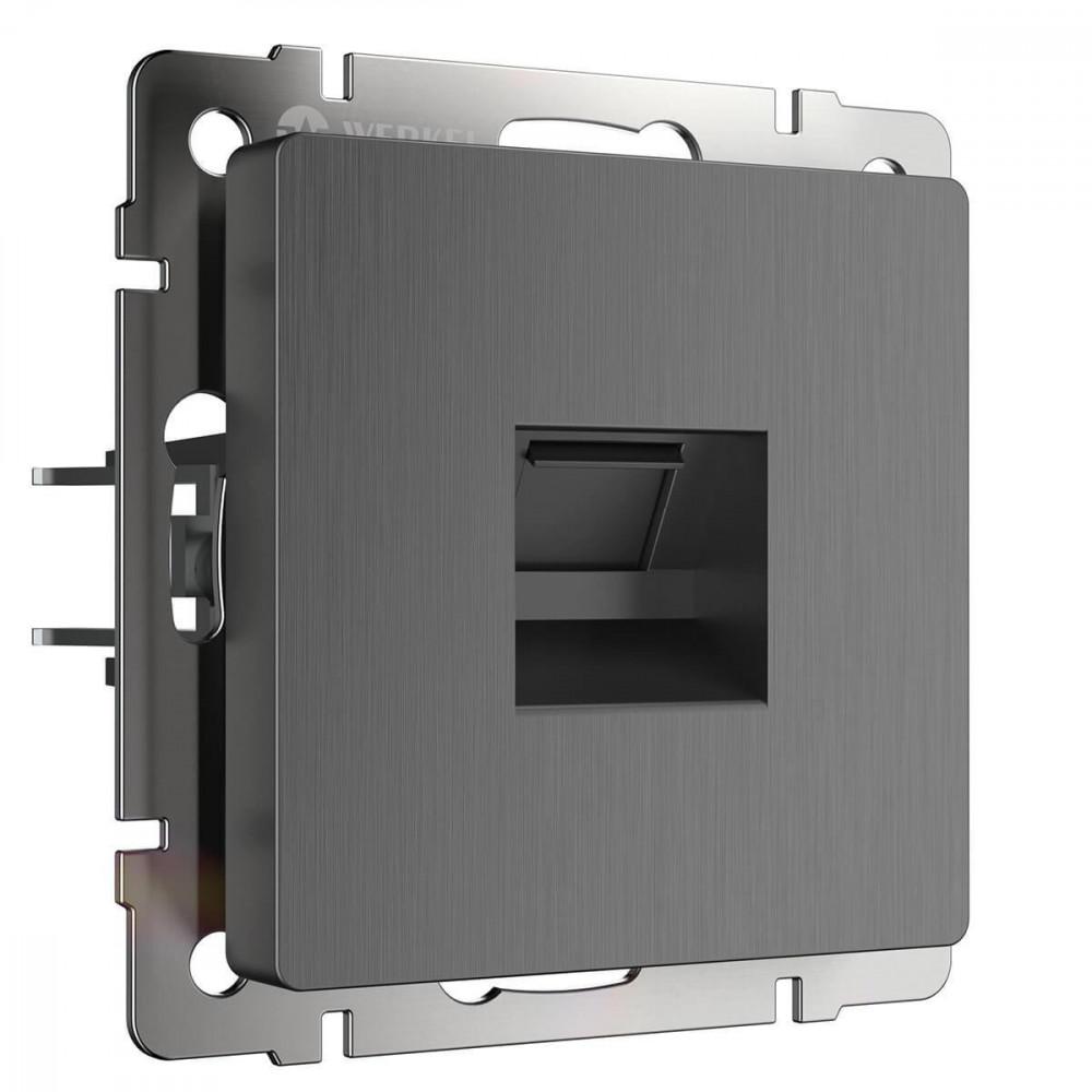 Розетка Ethernet RJ-45 Графит рифленый WL04-RJ-45 4690389145971