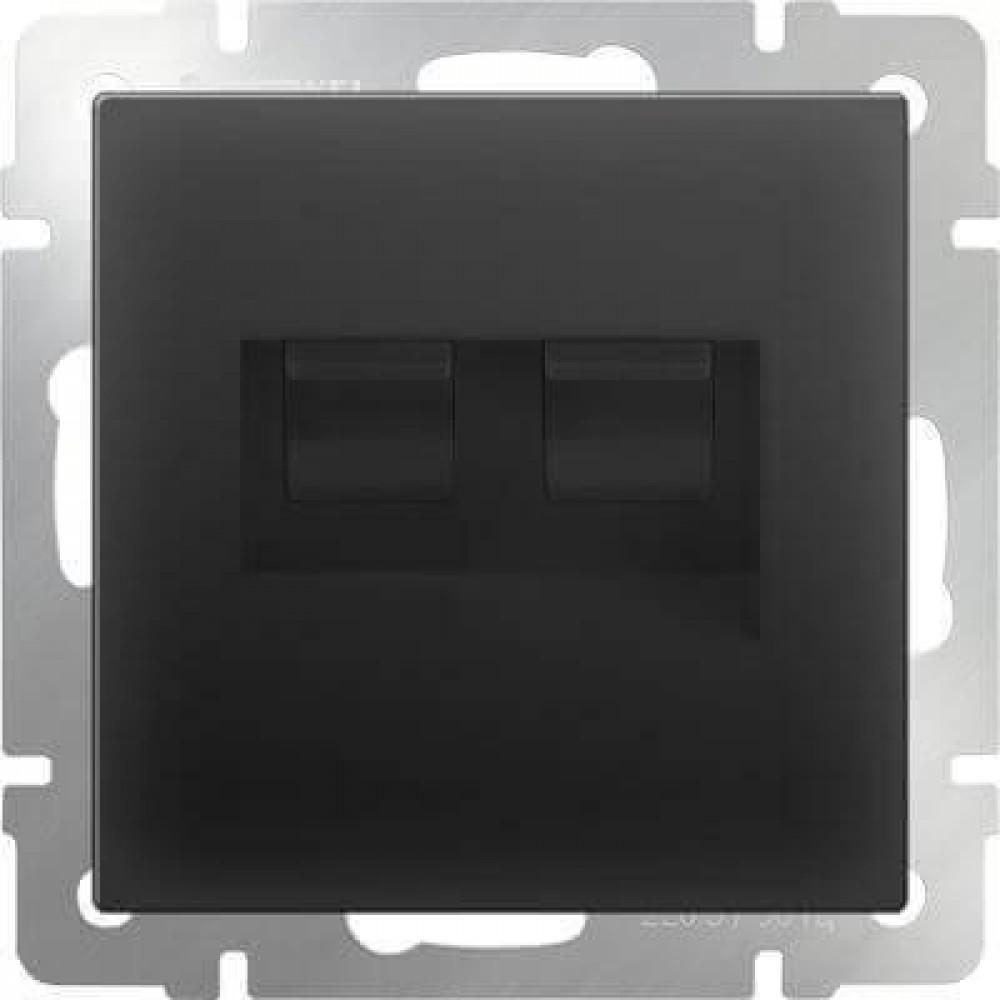 Розетка телефонная RJ-11 и Ethernet RJ-45 черный матовый WL08-RJ11+RJ45 4690389054266