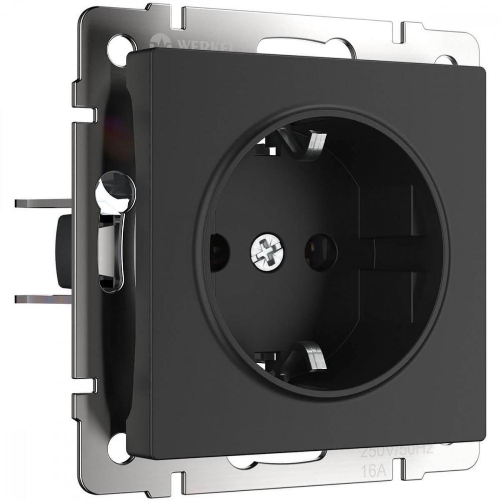 Розетка с заземлением Werkel WL08-10-01 безвинтовой зажим черная 4690389126260