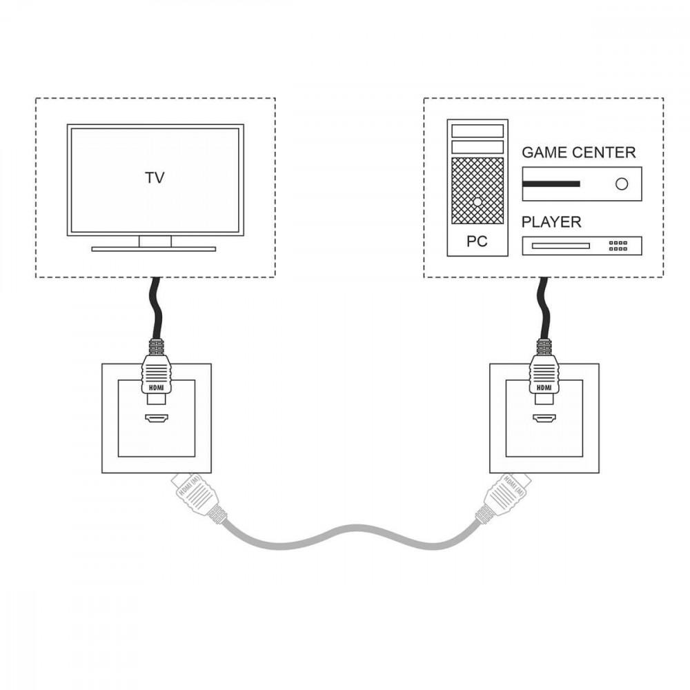 Розетка HDMI черная матовая WL08-60-11 4690389111051