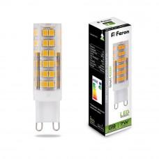 Лампа светодиодная Feron G9 7W 4000K прозрачная LB-433 25767