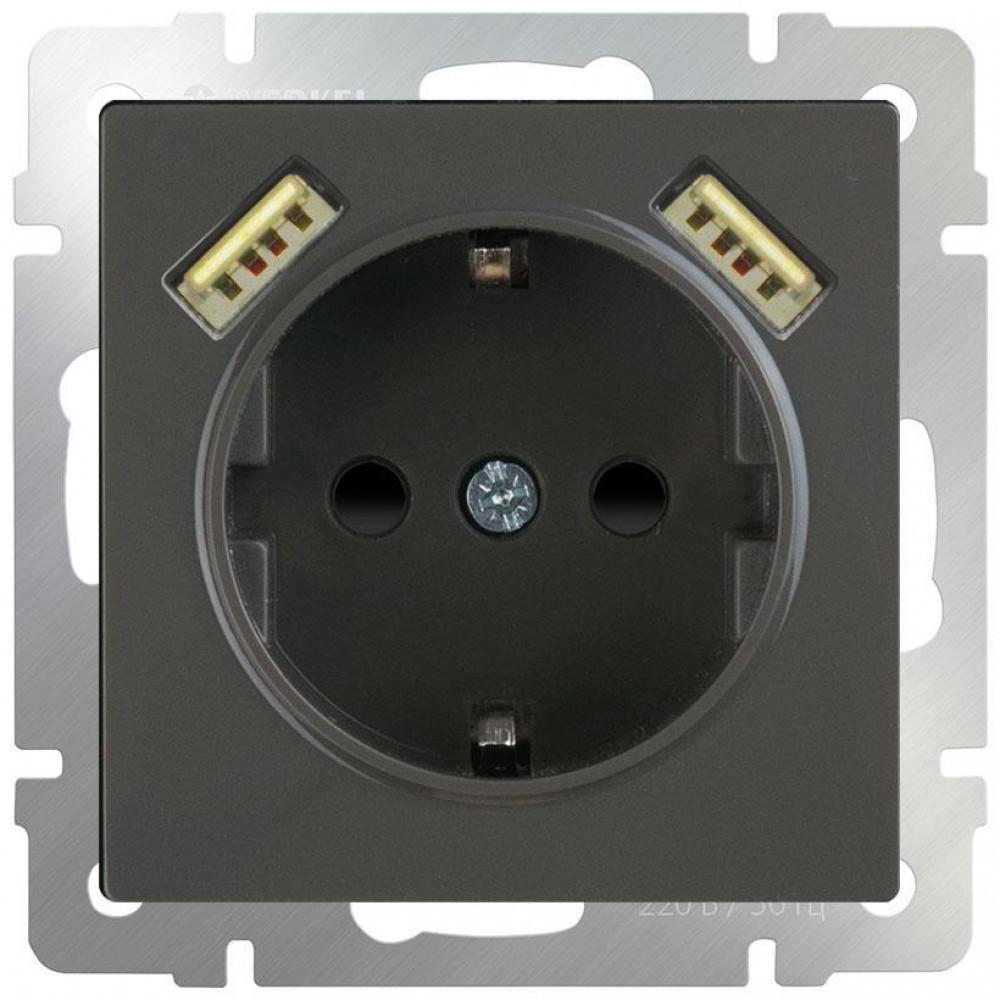 Розетка с заземлением, шторками и USBх2 Werkel WL07-SKGS-USBx2-IP20 серо-коричневый 4690389093999