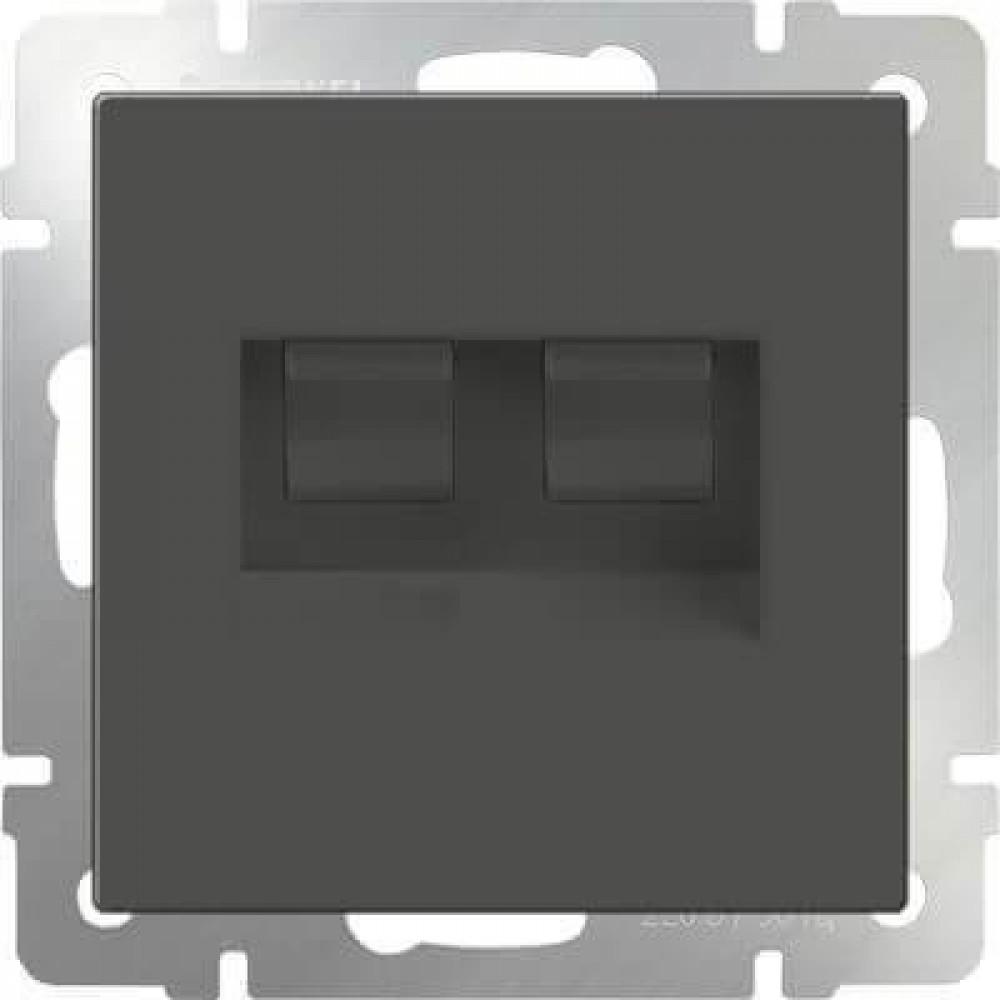 Розетка телефонная RJ-11 и Ethernet RJ-45 серо-коричневая WL07-RJ11+RJ45 4690389054105