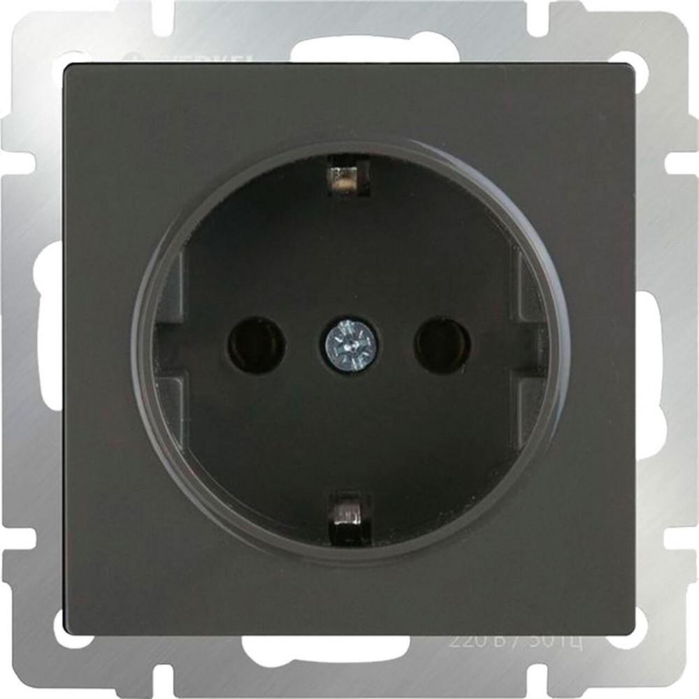 Розетка с заземлением Werkel WL07-SKG-01-IP20 серо-коричневая 4690389086618