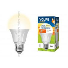 Лампа светодиодная Volpe LED-A60-8W/WW/E27/FR/S Форма A, матовая колба. Материал корпуса термопластик. Цвет свечения теплый белый. Серия Simple