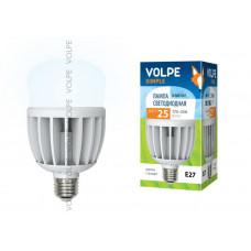 Лампа светодиодная с матовым рассеивателем Volpe LED-M80-25W/NW/E27/FR/S Материал корпуса термопластик. Цвет свечения белый. Серия Simple