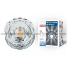 Светильник встраиваемый декоративный светодиодный 10Вт ТМ Fametto DLS-F301 10W CHROME/CLEAR
