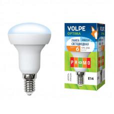 Лампа светодиодная Volpe LED-R50-6W/NW/E14/FR/O Форма Рефлектор, матовая колба. Материал корпуса пластик. Цвет свечения белый. Серия Optima