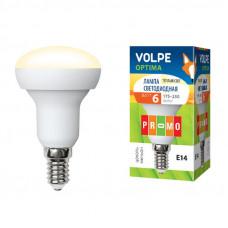 Лампа светодиодная Volpe LED-R50-6W/WW/E14/FR/O Форма Рефлектор, матовая колба. Материал корпуса пластик. Цвет свечения теплый белый. Серия Optima