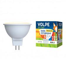 Лампа светодиодная Volpe LED-JCDR-5W/WW/GU5.3/O Форма JCDR, матовый рассеиватель. Материал корпуса пластик. Цвет свечения теплый белый. Серия Optima