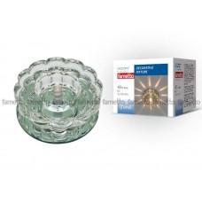 Светильник встраиваемый декоративный ТМ Fametto DLS-F125 G4 GLASSY/CLEAR, серия Fiore. Без лампы, цоколь G4. Основание стекло, цвет зеркальный. Отделка кристалл, цве